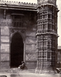North-east corner of Muhafiz Khan's Mosque, showing sculptural detail at base of minaret, and side arch, Ahmadabad 1720